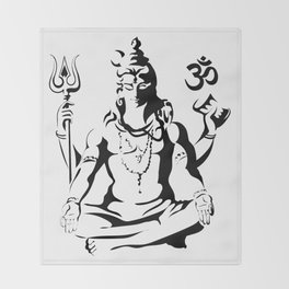 Shiva Drawing Parvati Sketch Throw Blanket