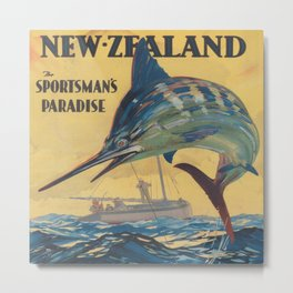 New Zealand Vintage Travel Poster Metal Print