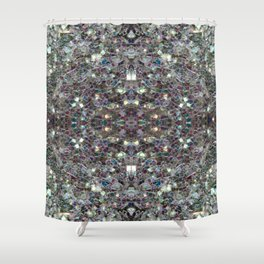 Sparkly colourful silver mosaic mandala Shower Curtain