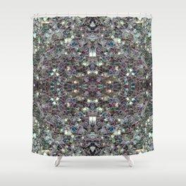 Sparkly colourful silver mosaic mandala Shower Curtain