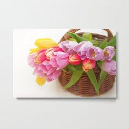 Tulip in a basket Metal Print