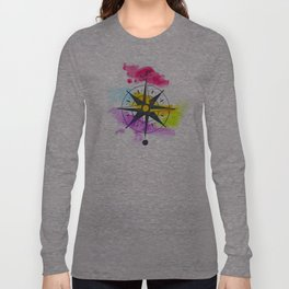 Watercolor Compass Long Sleeve T-shirt