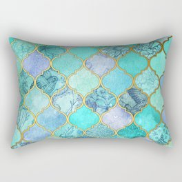 Cool Jade & Icy Mint Decorative Moroccan Tile Pattern Rectangular Pillow