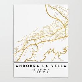 ANDORRA LA VELLA CITY STREET MAP ART Poster