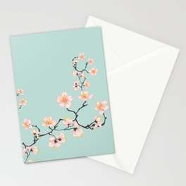 Sakura Cherry Blossoms x Mint Green Stationery Cards