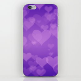 Soft Purple Hearts On Graduated Background. Valentines Day Concept iPhone Skin