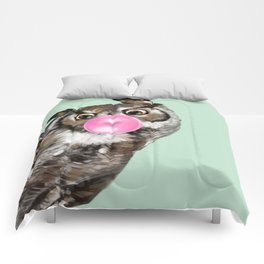 Sneaky Owl Blowing Bubble Gum Comforters