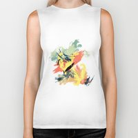 mid century Biker Tanks featuring Intuitive Conversations, Abstract Art, Brush Strokes, Mid Century Modern Colors, Orange, Gold, Teal by Itaya Art