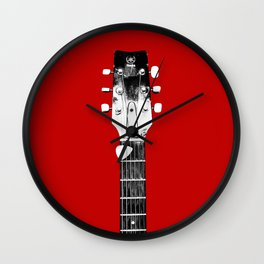 Guitar - Head, Red Background Wall Clock