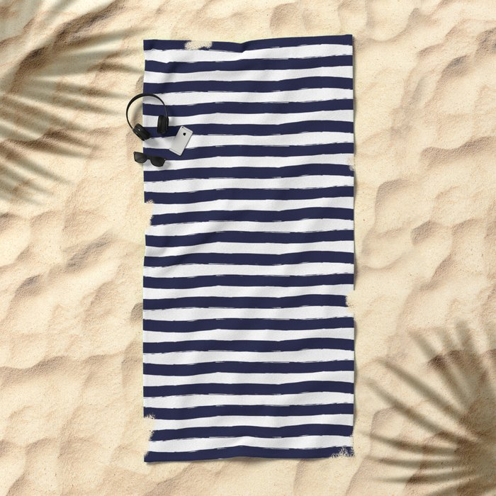 Navy Blue and White Horizontal Stripes Beach Towel