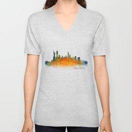 New York City Skyline Hq V02 Unisex V-Neck