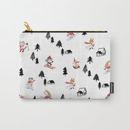 Mountain skiing in alpine chalet snow forest Carry-All Pouch