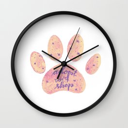 Adopt don't shop galaxy paw - pastel pink and ultraviolet Wall Clock