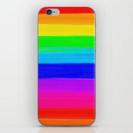 Modern rainbow brushstrokes paint striped pattern iPhone Skin