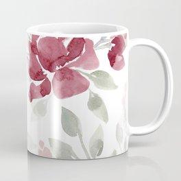 Burgundy Watercolor Floral Coffee Mug