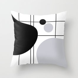 Lines and Curves #6 - Black & White - Set 1 Throw Pillow