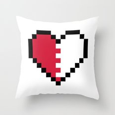 Pixel Heart Broken Throw Pillow