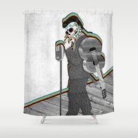 johnny cash Shower Curtains featuring Johnny Cash Sugar Skull // Digital // Mixed Media by The House of Black