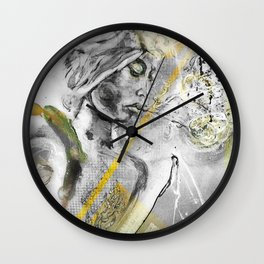 Orange^Moon°  - Exhaling with Green Eyes Wall Clock
