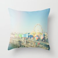 santa monica Throw Pillows featuring Santa Monica by SoCal Chic Photography