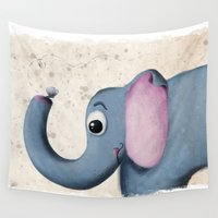 baby elephant Wall Tapestries featuring Baby Elephant by David Owen Breeding