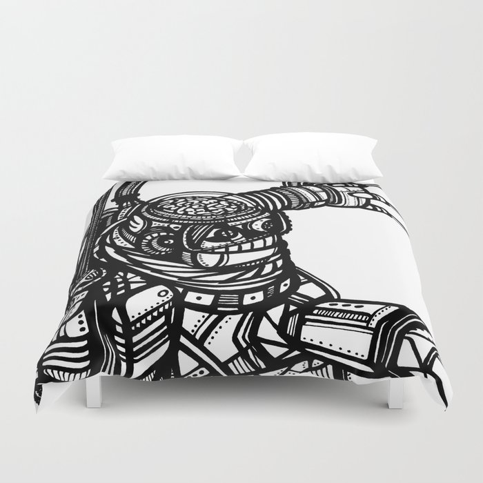Robot 4 black and white Duvet Cover