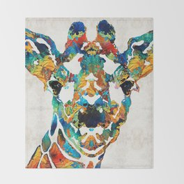 Colorful Giraffe Art - Curious - By Sharon Cummings Throw Blanket