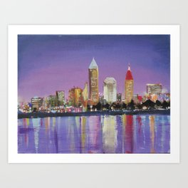 """Downtown Cleveland Ohio Skyline """"The Land"""" in City Lights Art Print"""