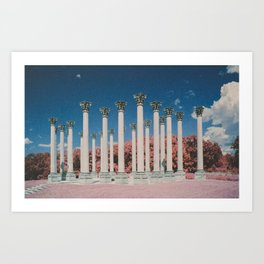 Capital Columns in infrared Art Print