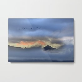"""Sunrise at the mountains"". Birds in the morning. Metal Print"