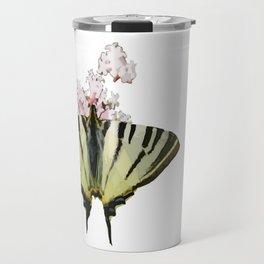 Scarce Swallowtail On Wild Garlic Flowers Vector Isolated Travel Mug