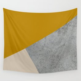 MUSTARD NUDE GRAY GEOMETRIC COLOR BLOCK Wall Tapestry