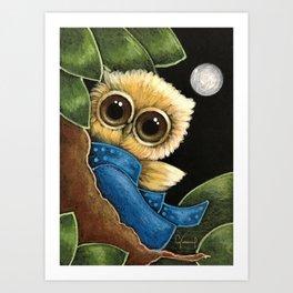 TINY BLONDIE GOLDEN OWL WITH BLUE DRESS Art Print