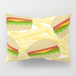Burgers And Fries - Food Illustration Pillow Sham