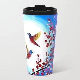 Red Cherry Blossom Travel Mug