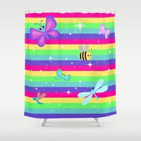 stripes Shower Curtains featuring Rainbow Butterflies & Stripes by WhimsyRomance&Fun