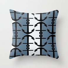 Anchors: Teal, White and Perrywinkle Throw Pillow