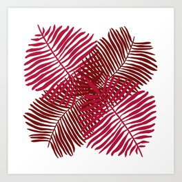 Modern Tropical Palm Leaves Painting rose on white background Art Print