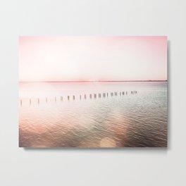 Pink Sunset Pier Metal Print