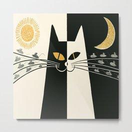 Vintage Black and White Cat Metal Print