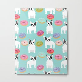 French Bulldog cute mint pastel cute donuts sweet treat doughnuts junk food dessert foods and dogs Metal Print