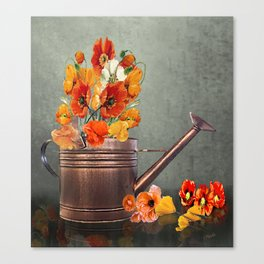 Copper Watering Can and Poppies Canvas Print