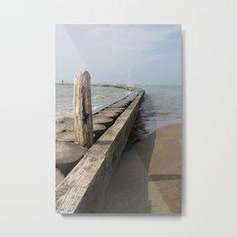 The wooden breackwater Metal Print