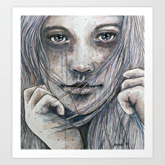 Summer dreams of winter, watercolor illustration Art Print