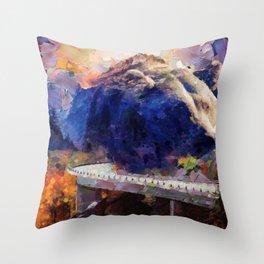 Big mountain bear on highway Throw Pillow