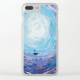 Blue Moon Collage Clear iPhone Case