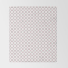 Small Alice Pink and White Checkerboard Square Pattern Throw Blanket