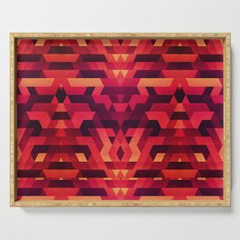 Abstract red geometric triangle texture pattern design (Digital Futrure - Hipster / Fashion) Serving Tray