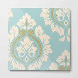 Decorative Damask Art I Cream & Gold on Blue Metal Print