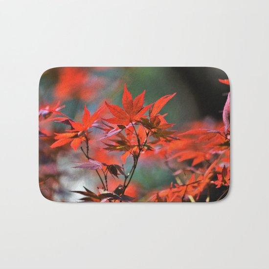 Scarlet Japanese Maple Leaves Bath Mat
